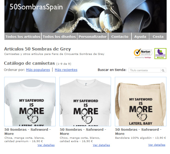 T-shirts shop Fifty Shades Spain
