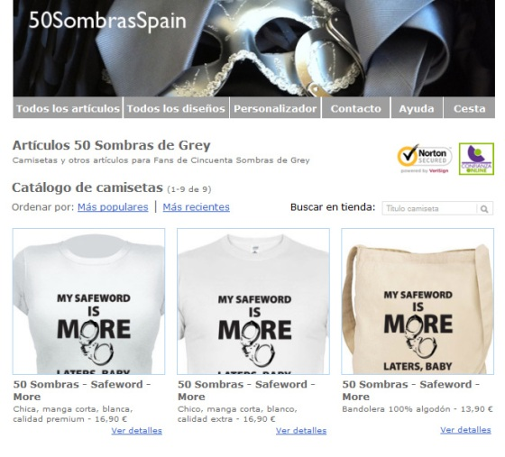 T-shirts shop Fifty Shades Spain
