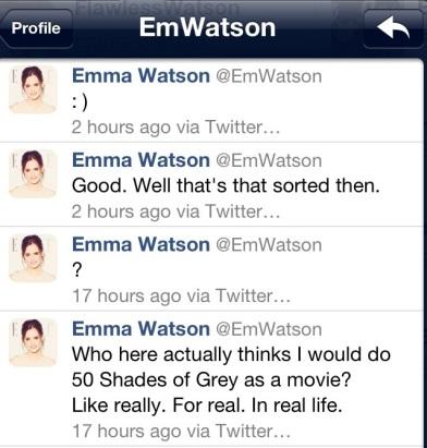 Emma Watson twitter 50 Sombras