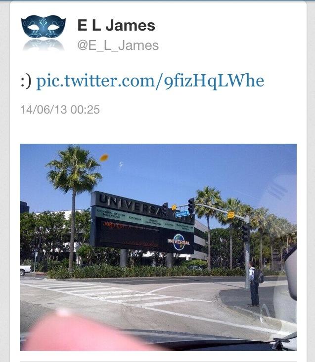 E L James Universal Studios L.A.