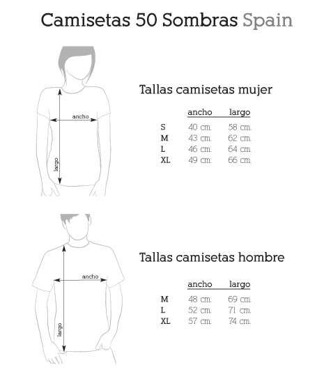 Tallas camisetas 50 Sombras