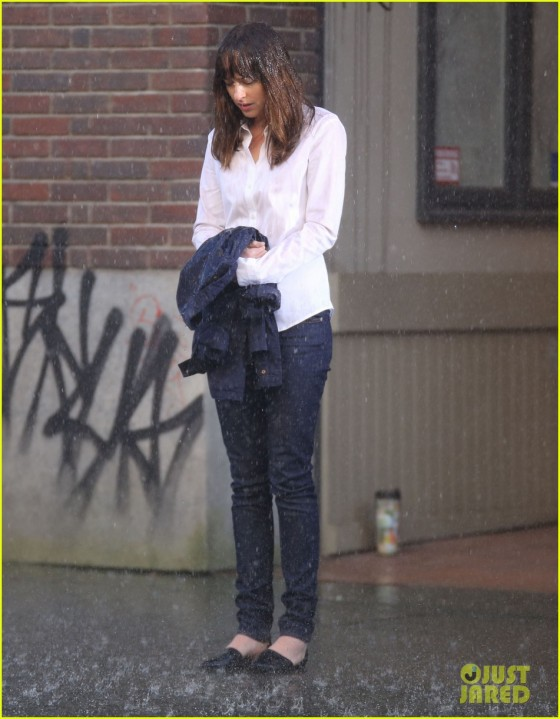 Dakota Johnson Gets Wet On The Set Of 'Fifty Shades Of Grey'