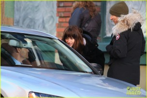Stars On The Set Of 'Fifty Shades Of Grey'