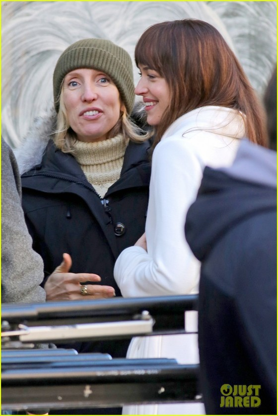 "Dakota Johnson films scenes with Max Martini on the set of ""Fifty Shades of Grey"" **NO Canada**"