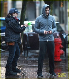 Jamie Dornan Running In The Rain On The Set Of 'Fifty Shades Of Grey'